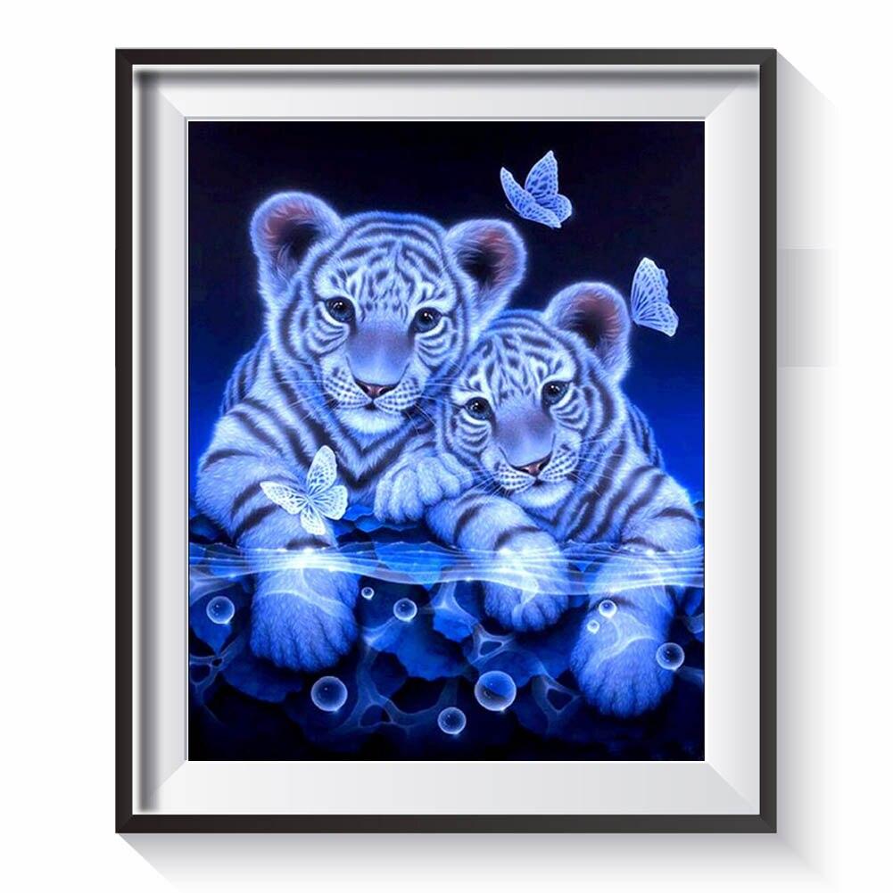 5D DIY Алмазная картина Белый тигр Вышивка круглый бриллиант Отделка стен Наклейки Гостиная Dropship