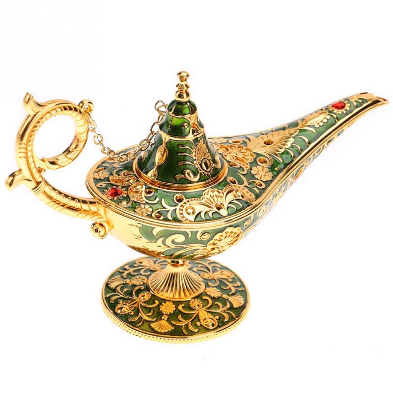 Aladdin Magic Lamp Traditional Hollow Out Fairy Tale Aladdin Genie Lamp Vintage Retro Toy Home Decor Ornaments Vintage Tea Pot
