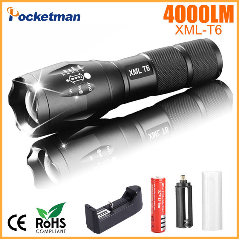 Portable LED Flashlight LED Torch Zoomable Flashlight 4000LM E17 XM-L T6 LED 5 Mode Light For 18650 or 3xAAA Battery e17 cree xm l t6 flashlight 3800lumens led torch zoomable powerful led flashlight torch linternas light for 3aaa or 18650 zk93