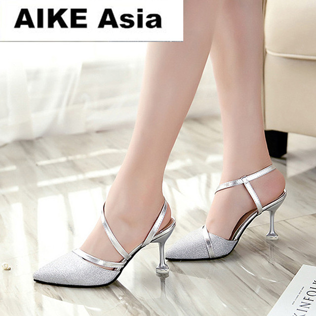 Spring heel High Heels Sandals lady Pumps classics slip on Shoes sexy Women party shoes gold silver Wedding Slingbacks 8cm