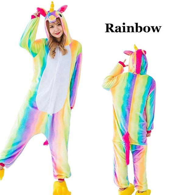 Winter Unisex Unicorn Pajamas Kigurumi Animal Rainbow Pyjamas women Adult onesies Cosplay Flannel stitch Onesie Sleepwear 2019
