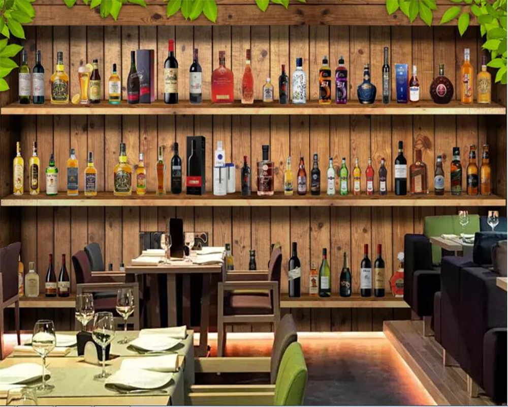 Us 8 96 44 Off Beibehang Wallpaper 3d Modern Minimalist Wine Cabinet Bar Table Tooling Decorative Mural Background Wallpaper For Bedroom Walls In