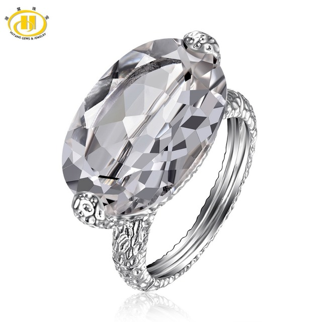 HUTANG Natural White Topaz Solid 925 Sterling Silver Solitaire Ring Oval Cut Gemstone For Women's New
