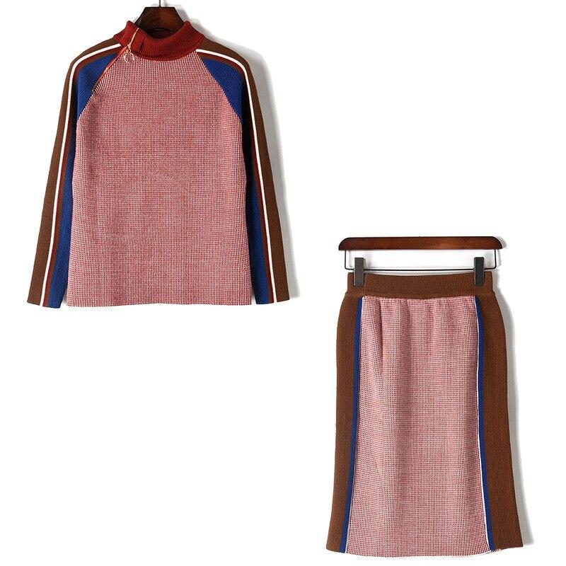 Ensemble 1 Tricot Robe Stripe De A716 Chandail Pull Nouveau Qualité Hit Zipper Moitié Couleur Haute Femmes Vêtements En Jupe Col wHUUq46T