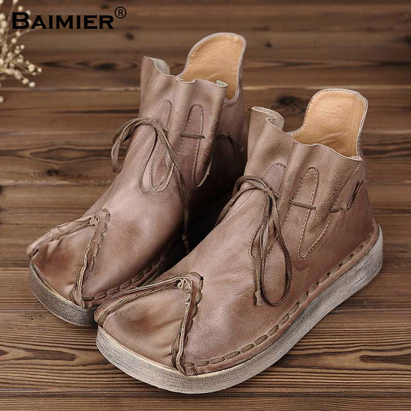 High Quality Autumn Boots Genuine Leather Shoes Women Retro Boots Handmade Ankle Boots Flats Soft Women Winter Martin Botas shangmsh brand women s winter boots 2017 retro handmade genuine leather ankle boots soft casual ladies autumn shoes