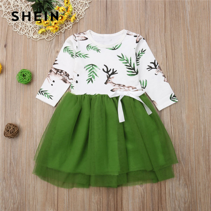 SHEIN Animal Leaf Print Knot Casual Mesh Short Toddler Girls Dress 2019 Spring Long Sleeve Kids Dresses For girls Clothing christmas snowflake print long sleeve flocking sweatshirt