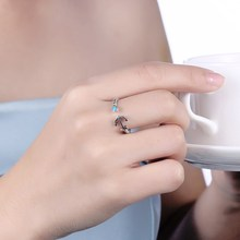 925 Sterling Silver Turquoise Anchor Open Ring