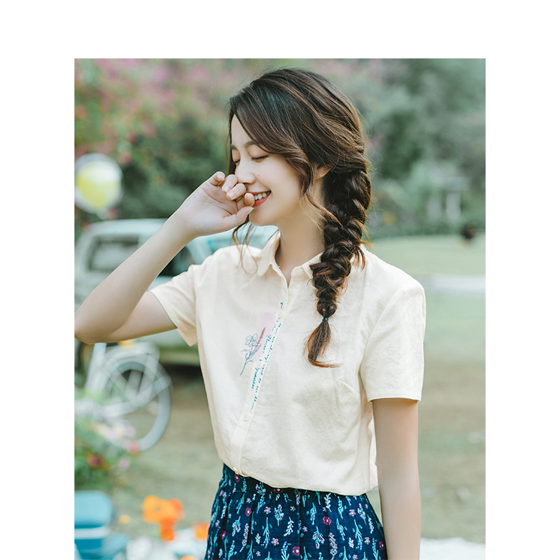INMAN 2019 Summer New Arrival Turn Down Collar Literary Embroidery Retro Pastoral All Matched Slim Short Sleeves Women Shirt