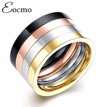 Eocmo Brand Punk Couple Ring SET Rose Gold Plated Titanium Rings anel masculino Steel Ring Men Women Bijoux Bague Christmas Gift