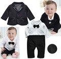 Bebê meninos roupas definir gentlemen preto casaco quente + romper manga longa outono inverno roupas para crianças 0-3 as idades