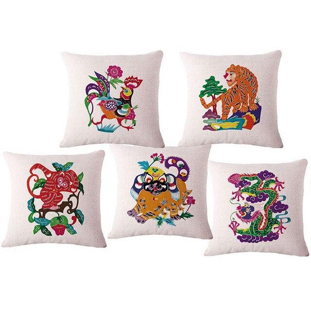 Zodiaco chino marca Lino hogar decorativo asiento silla sofá Cojines ...