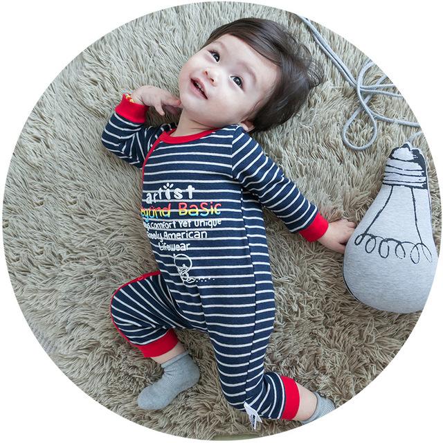 Mamelucos del bebé Ropa para Niños Otoño Ropa de Bebé Recién Nacido de manga larga a rayas de Algodón de Manga Larga Bebé Ropa de La Muchacha Monos
