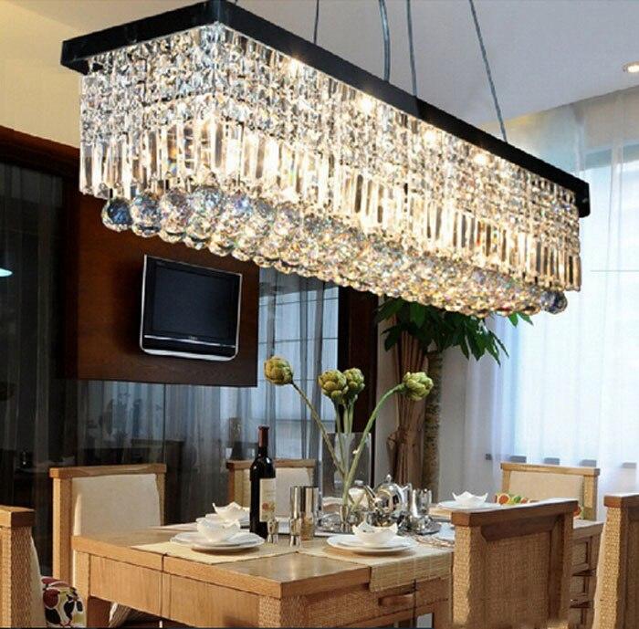 Noir rectangulaire restaurant lustre Européenne led lustre en cristal moderne simple restaurant lumières creative chambre lampes