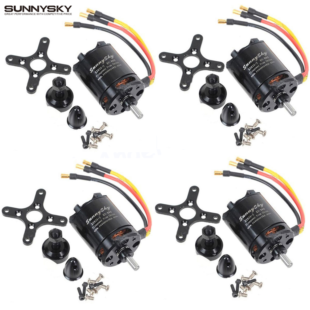 4set/lot Original SunnySky X2826 550KV 740KV 880KV 1080KV Outrunner External Rotor Brushless Motor for RC Helicopter 4set lot a2212 1000kv brushless outrunner motor 30a esc 1045 propeller 1 pair quad rotor set for rc aircraft multicopter