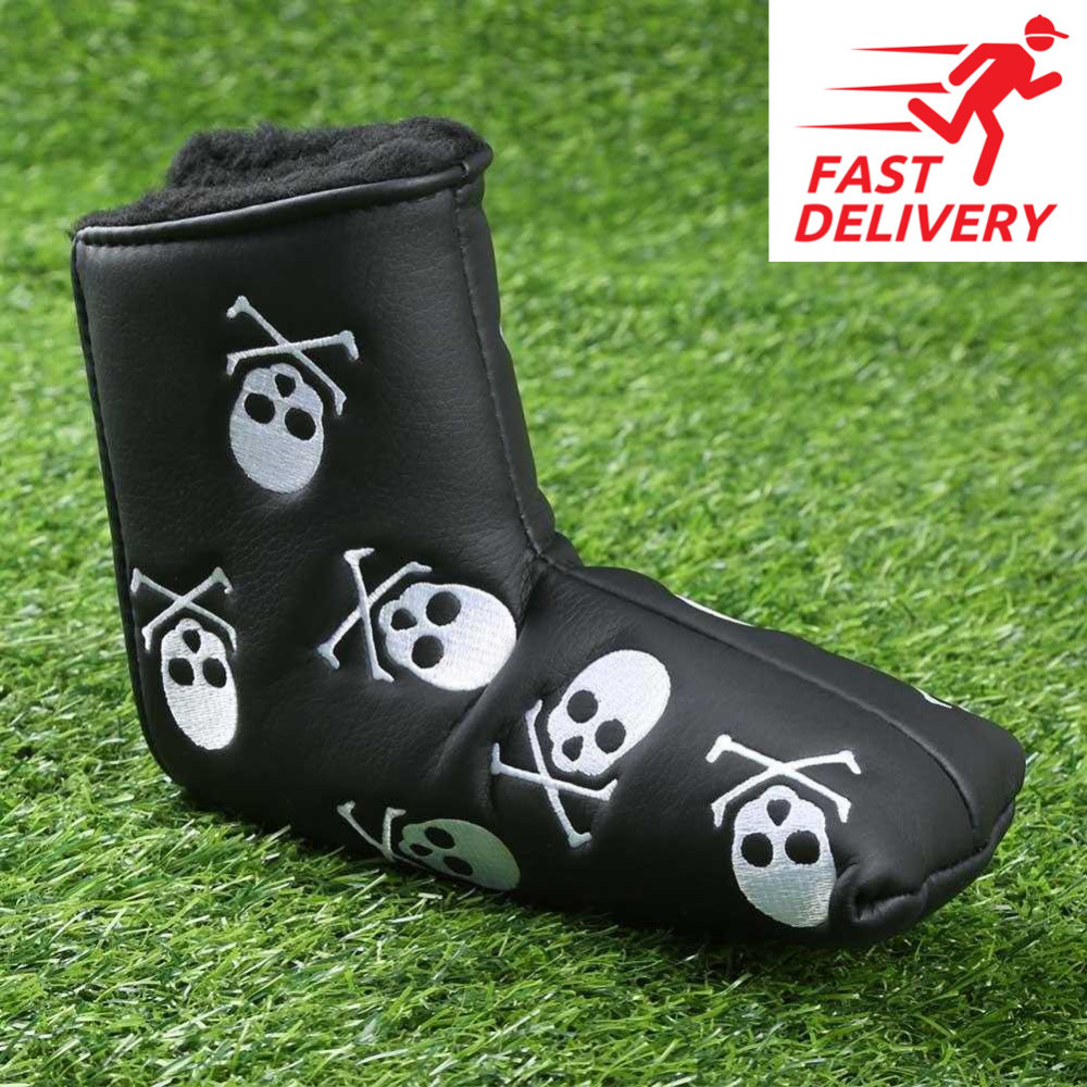 Golf Putter Cover PU Leather Blade Skull Pattern Golf Club Putter Covers Mallet Velco Black White 2 Colors 1 Pc Finger Ten
