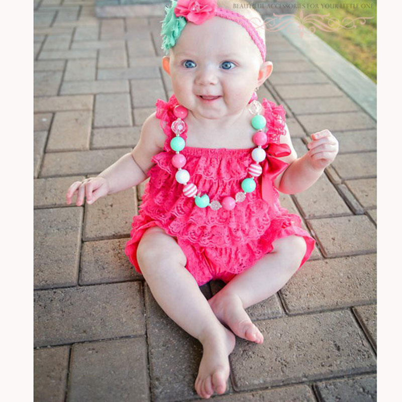 Baby Girls Clothes Infant Toddler Hot Pink Lace Romper Newborn Ruffled Petti Romper Toddler Kids Jumpsuit Baby Photo Prop Outfit