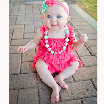 Baby Girls Clothes Infant Toddler Hot Pink Lace Romper Newborn Ruffled Petti Romper Toddler Kids Jumpsuit Baby Photo Prop Outfit newborn baby girls princess romper toddler kids long sleeves jumpsuit clothes children cotton lace playsuit pink yellow clothing