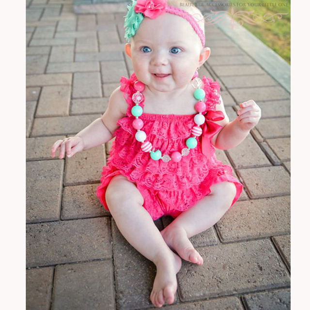 12ee92670882 Baby Girls Clothes Infant Toddler Hot Pink Lace Romper Newborn Ruffled  Petti Romper Toddler Kids Jumpsuit Baby Photo Prop Outfit