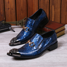 Fashion Genuine Leather Designer Men Shoes Pointed Toe Party Dress Shoes Men Business Formal Shoes Slip
