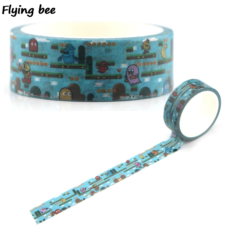 Flyingbee 15mmX5m Paper Washi Tape Pac Man Cute Adhesive Tape DIY Scrapbooking Sticker Cartoon Masking Tape X0336