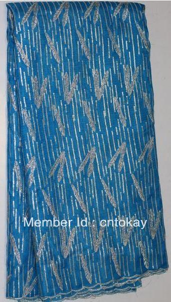 Free shipping!New  African double organza lace inlayed paillettes,Turkeyblue, 5 yards/piece,  organza lace  TKL3751