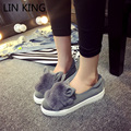 LIN REI Mulheres Inverno Botas Quentes Ankle Boots Curto Faux Fur Coelho orelha Grossa Sola Sapatos Quentes de Inverno Ao Ar Livre Casuais Preguiçosos Sapatos Femininos