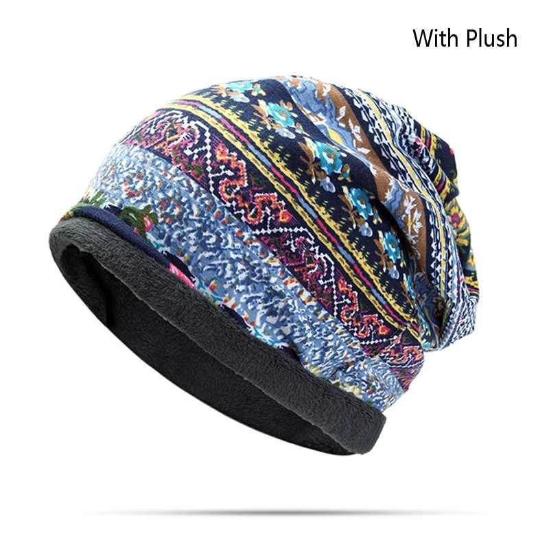 0bfde952323 ... Women Cotton Print Flower Ponytail Beanie Hat For Turban Hairband Scarf
