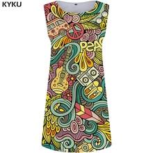 KYKU Music Dress Women Colorful Office Dresses Mini Car 3d Print Sundress Beautiful Vintage Womens Clothing Sleeveless Tunic New
