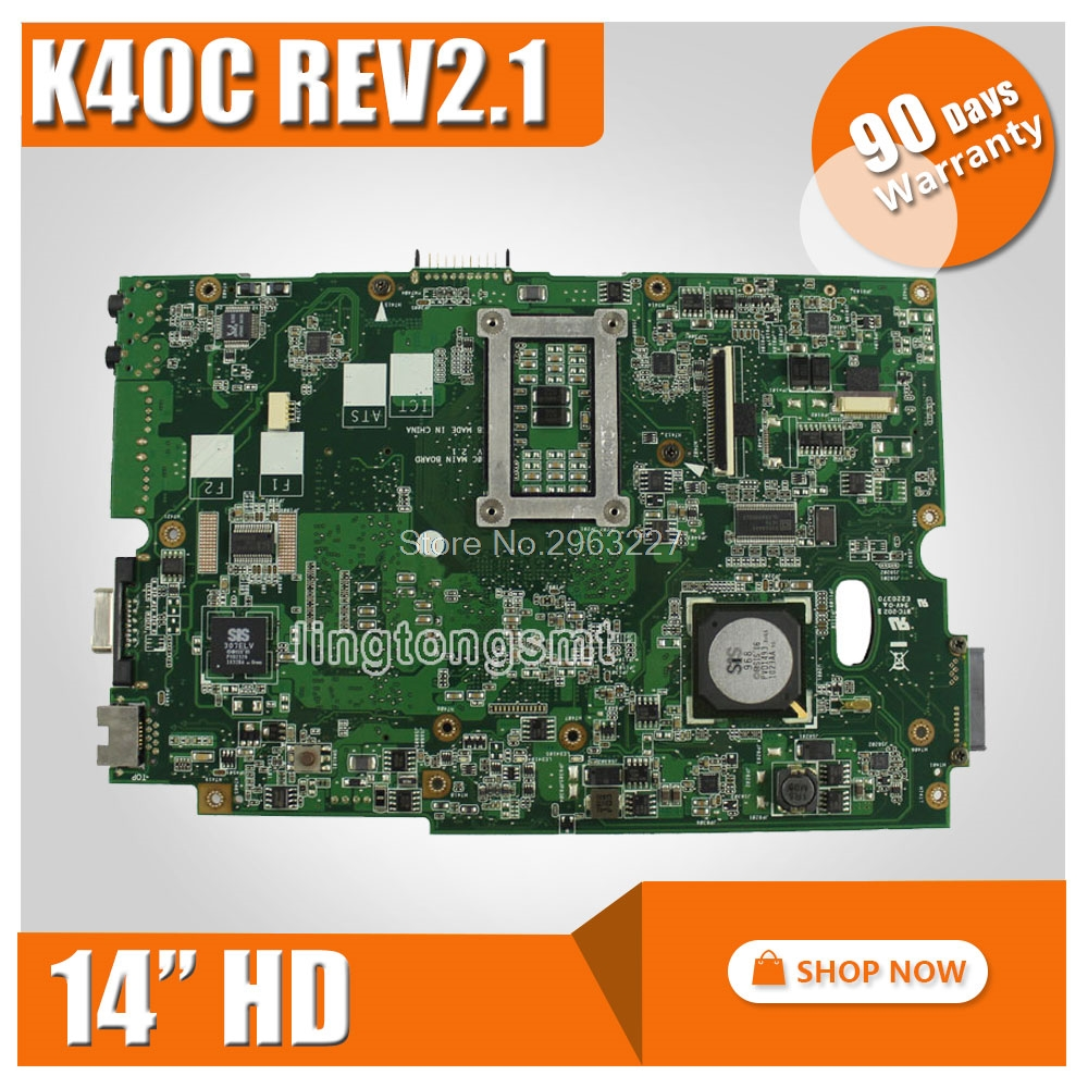 For ASUS K40C K50C Laptop Motherboard 14 HD REV 2.1 USB2.0 DDR2 VRAM SiS 672+968 Mainboard Tested Well and Fully Working