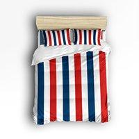 4 Piece Bed Sheets Set Blue Red White Geometric Vertical Stripes 1 Flat Sheet 1 Duvet