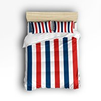 4 Piece Bed Sheets Set Blue Red White Geometric Vertical Stripes 1 Flat Sheet 1 Duvet