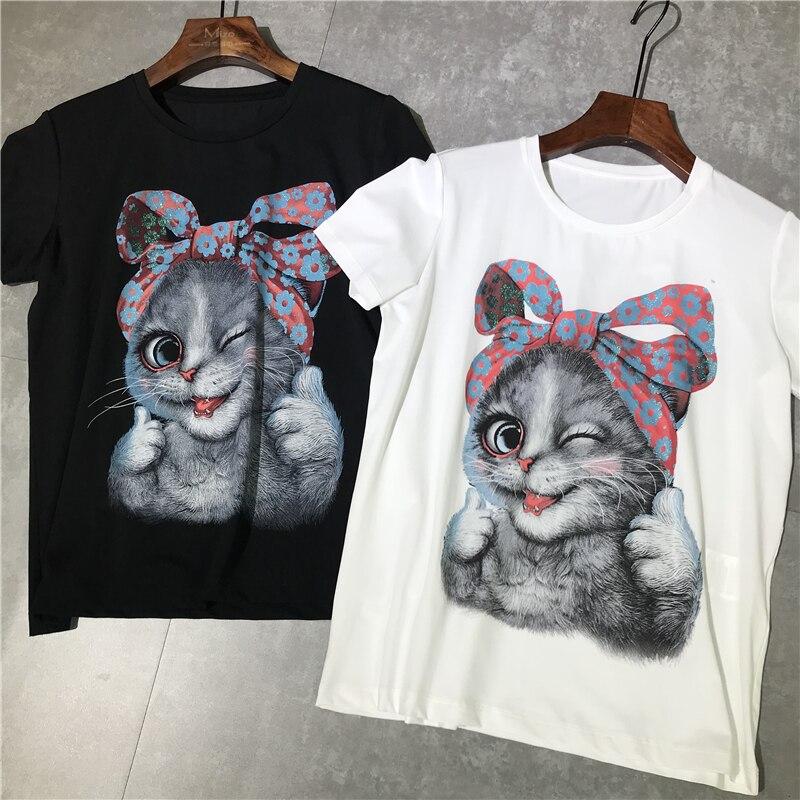 100% coton marque de mode femmes haut de gamme de luxe été couleur impression bling sauvage mince chat à manches courtes T-shirt Top t-shirts haut