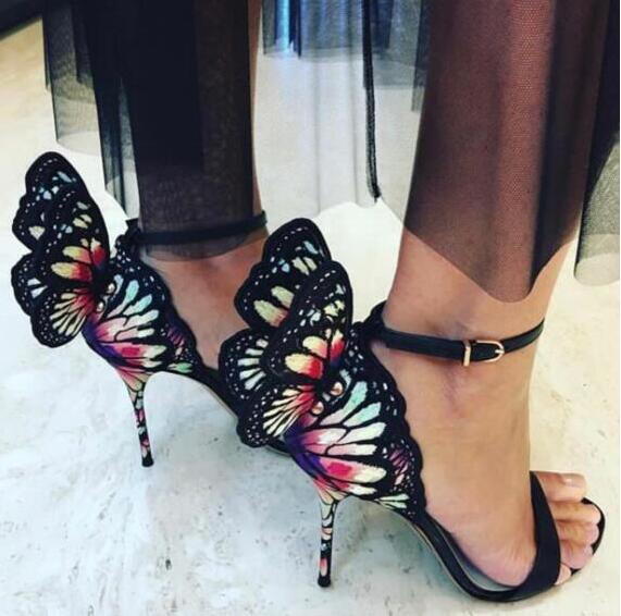 Newest Hot Mixed Colors Embroider Glitter Butterfly Angel Wing Gladiator Women Sandals High Heels Ankle Buckle Party Shoes