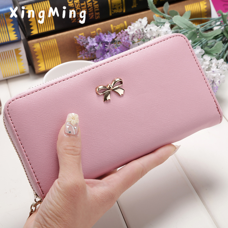 Women Lady Long Wallets Purse Female Candy Color Bow PU Leather Carteira Feminina for Coin Card Clutch phone Bag zippered wallet 2016 hot fashion women wallets handbag solid pu leather long bag designer change clutch lady brand cash phone card coin purse