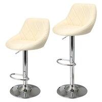 Homdox 2 sztuk Syntetyczny Regulowany Obrotowy Stołek barowy Pneumatyczne Stentu Krzesło Ze Stali Nierdzewnej 3 Kolory N20 *