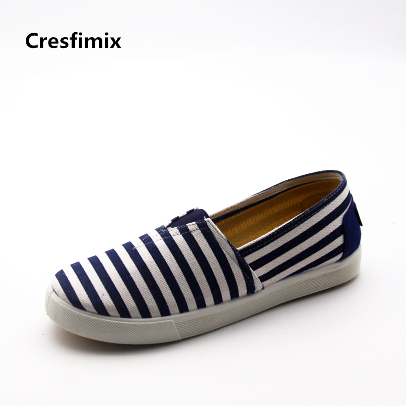 Cresfimix women fashion blue striped comfortable canvas shoes lady cute high quality slip on flat shoes female cute loafers cresfimix women fashion blue striped summer slip on canvas flat shoes lady cute spring flats female cloth dance shoes zapatos