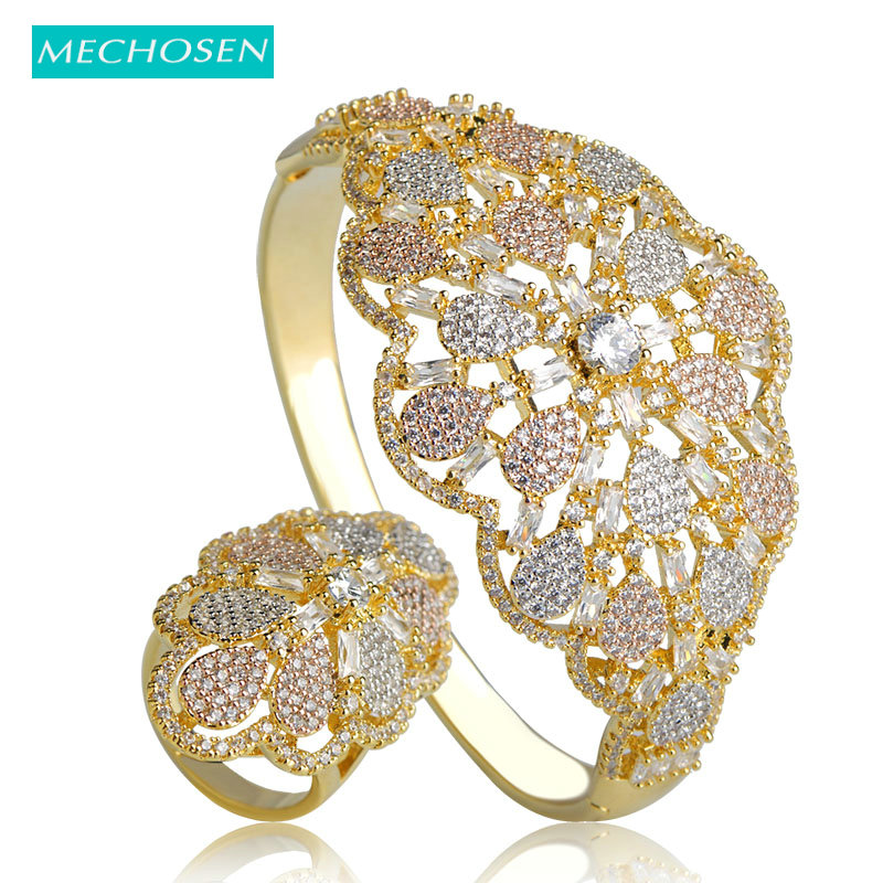 MECHOSEN Sparkling Zirconia Flower Bangle Ring Set 3 Tone Mirco Paved Crystal Copper Bangle Ring Aros Women Wedding Jewelry Sets