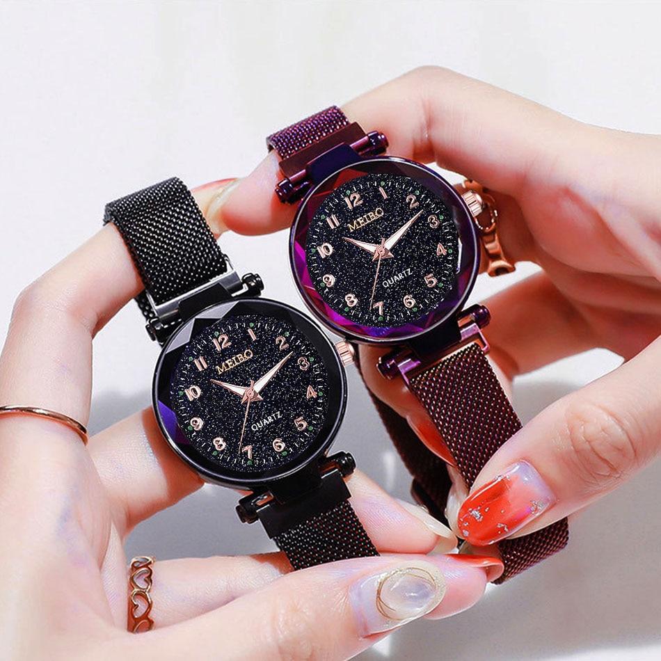Starry Sky Arabic Watches Women Milanese Steel Magnet Watch Girls Top Brand Luxury Women Quartz Watches Relogio Feminino 2019