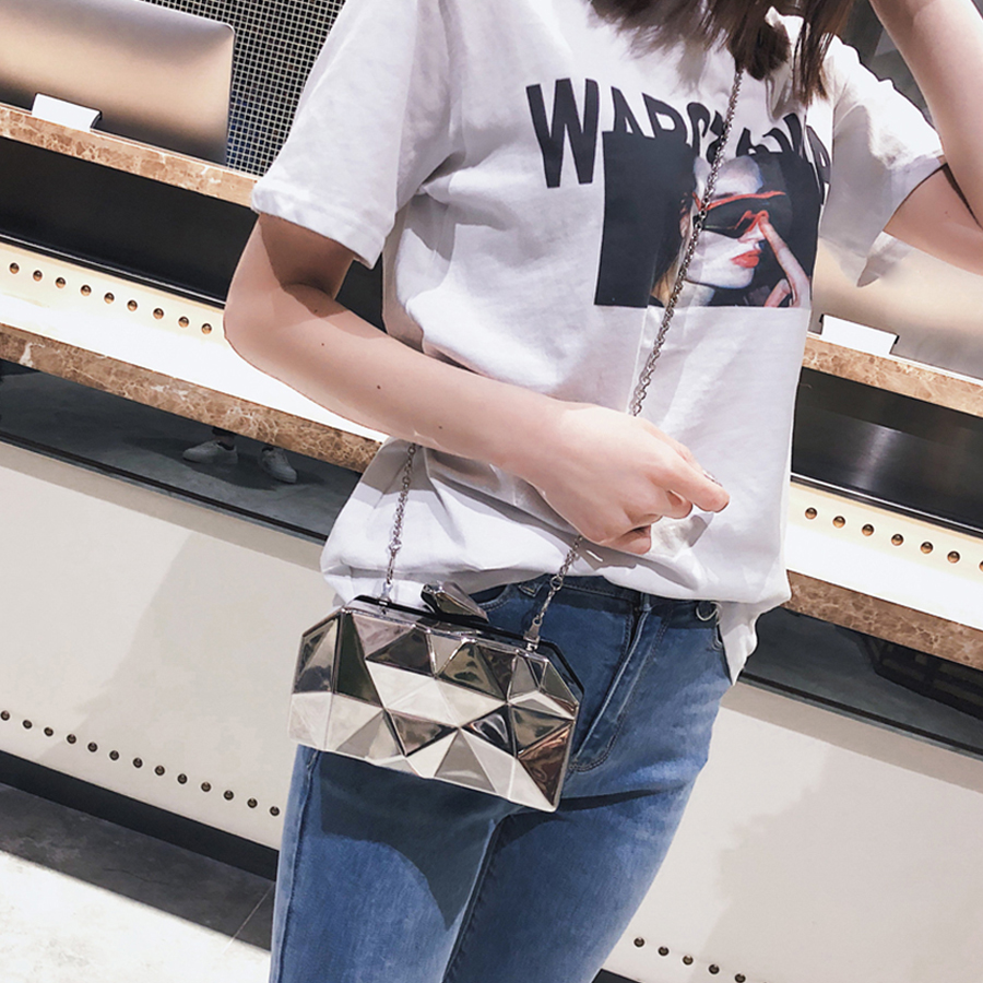 Fashion Geometric Women Handbags Metal High Quality Hexagon Clutches Mini Party Black Evening Purse Silver Bags Gold Box Clutch