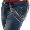 Hombres 5 Lines plata Multi Metal corto Small Net acoplamiento de la bola de Jeans bolsillo clásicos de la cadena de Punk Hip Hop llavero envío rey J62
