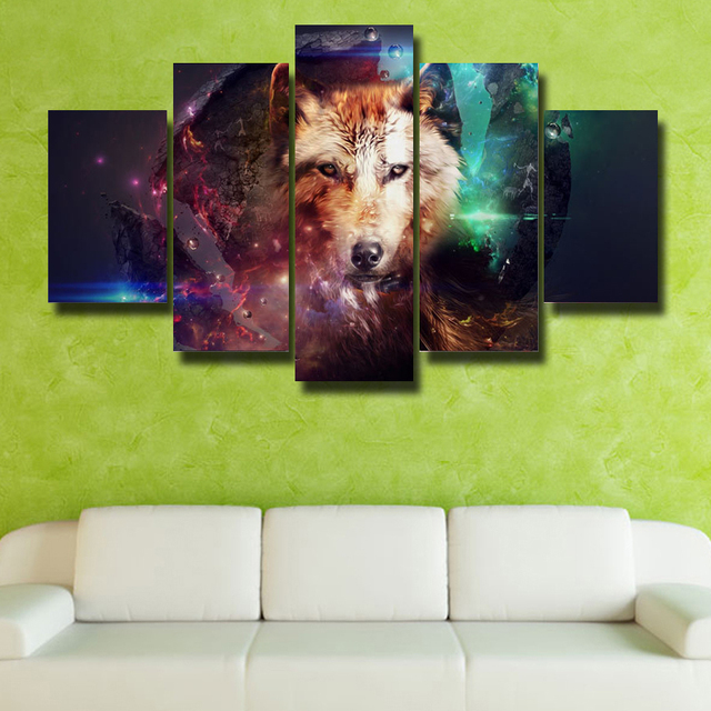 Framed Art Wall Theme Dream Wolf 5P Modern HD Poster Picture Canvas Print Living Room Decoration