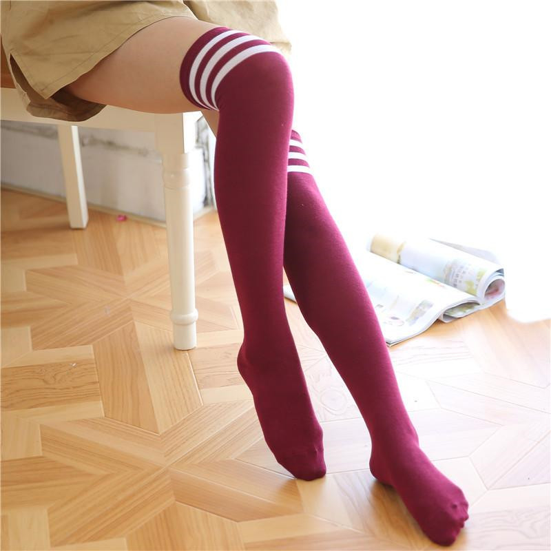 Spring Summer And Autumn Three Striped Stocs Overknee Socks Sports Football Socks For Female Students Girls Overknee  Long Socks