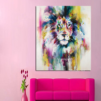Top selling canvas Oil painting Wall art Lion King Water color Animal Art poster Decoration Home Picture for Living Room Wall