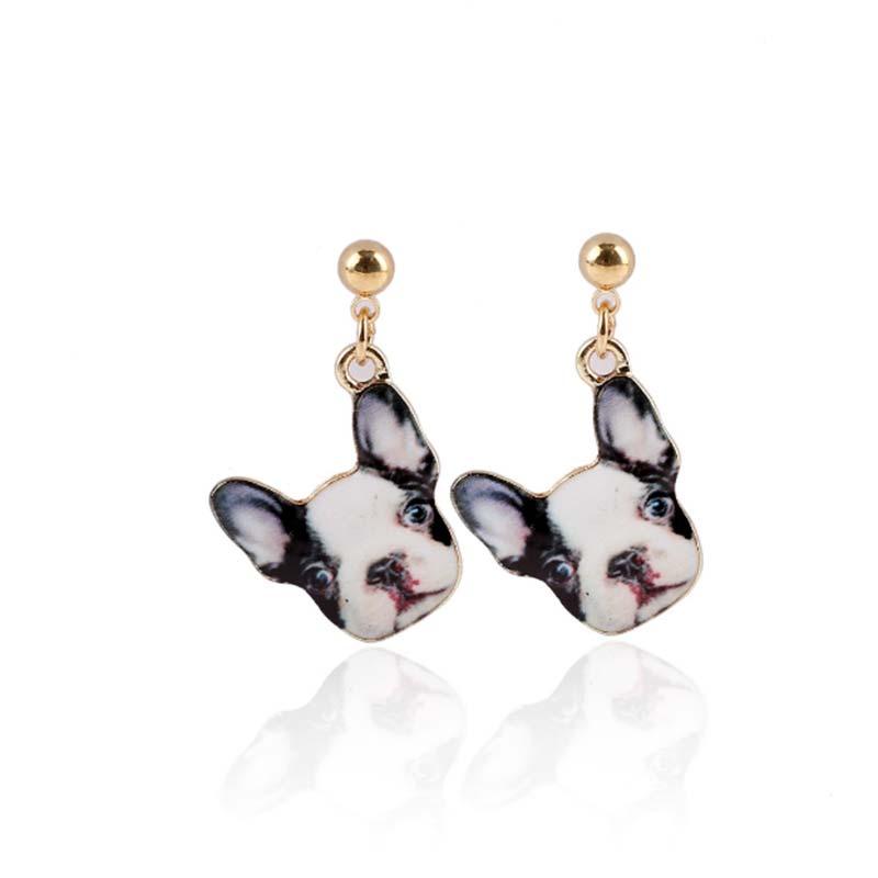 French Bulldog Dog Earrings Canine Head Animal Dangle Earrings Pet Lovers Gift Animal Frenchie Dog Breed Jewelry