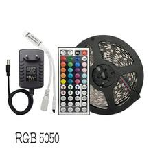 цена на Led Light Strip RGB SMD 5050 Flexible Ribbon 30Leds/m 5M 10M 15M Tape Diode DC 12V Led Strip , Led Controller  +Adapter