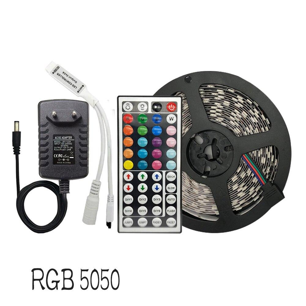 Led Light Strip RGB SMD 5050 Fita Flexível 30 60leds/m 5M 10M 15M Fita Diodo DC 12V Tira Conduzida, levou Controlador + Adaptador
