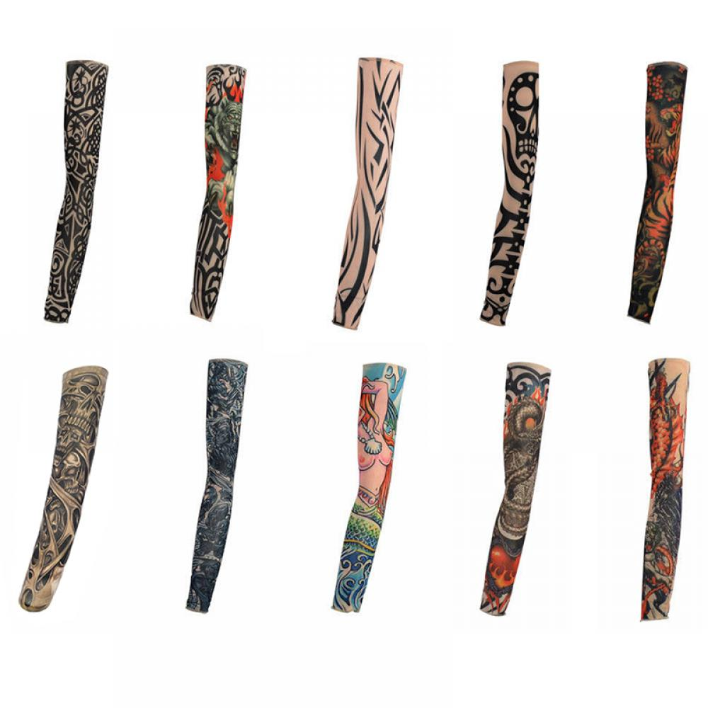 10 Styles Arm Stockings Mix Nylon Stretchy Temporary Tattoo Sleeves 1PC Fashion New Hot Arm Warmers