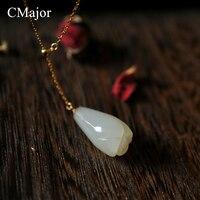 CMajor 2017 Delicate Michelia Alba Natural Stone Chokers Necklaces For Women Retro Gold Color Chain & Link Pendant Necklace