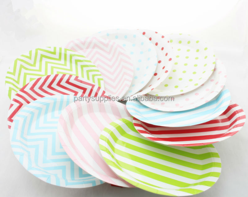 Wholesale 48 pieces 9  chevron paper plates disposable food tray wedding supplies tableware birthday party decoration-in Disposable Party Tableware from ...  sc 1 st  AliExpress.com & Wholesale 48 pieces 9