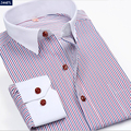 Brand Stripe Men Shirt Long-sleeve Casual Men Dress Shirt Clothing For Men Cotton Slim Fit Male Social Dress Shirt Plus Size